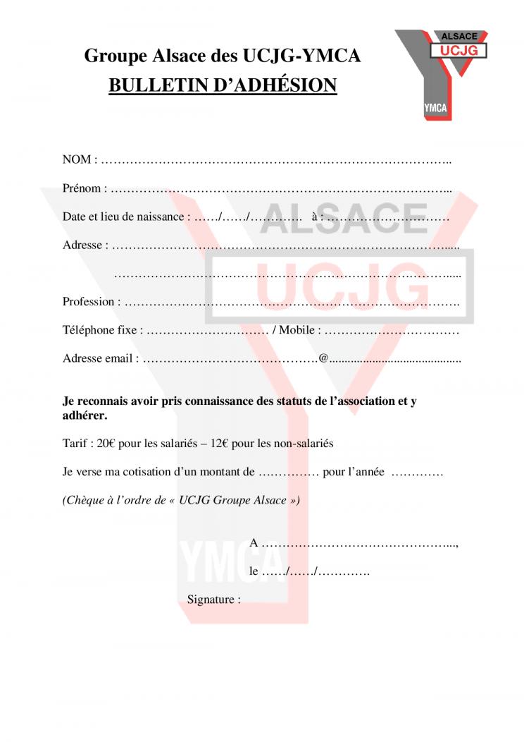 UCJG GA - bulletin d'adhésion
